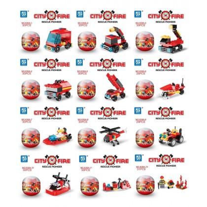 Egg Capsule Building Block - City Fire - Rescue Pioneer - Set of 12